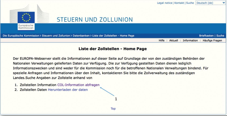 AEO Auskunft - Europäische Kommission Liste der Zollstellen