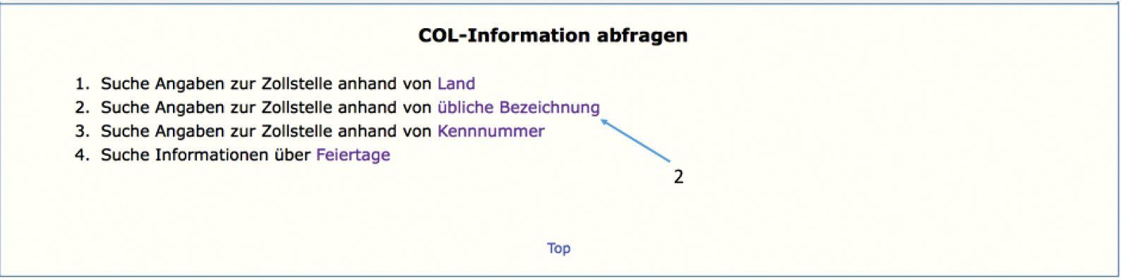 AEO Auskunft - Europäische Kommission Liste der Zollstellen - Abfragekriterium