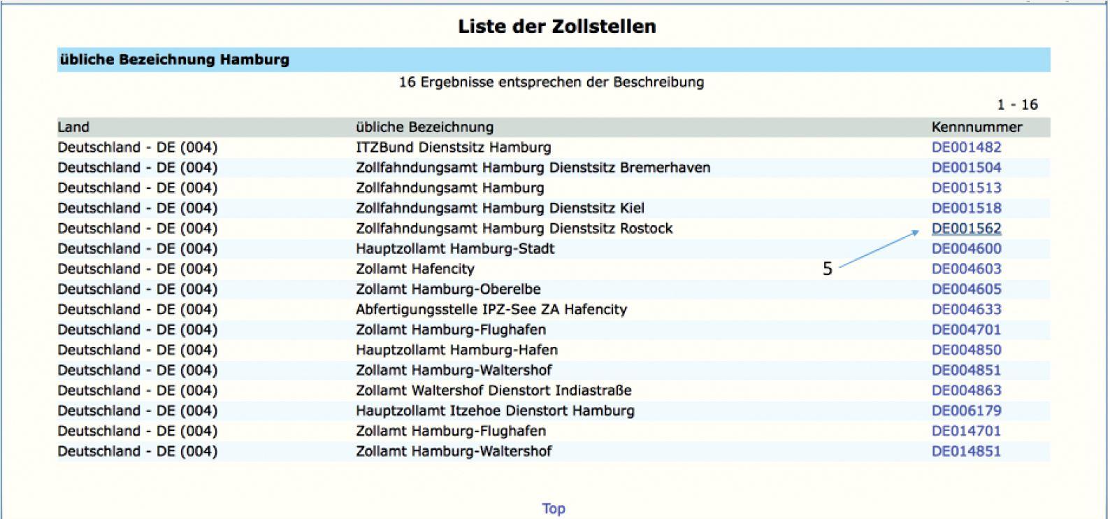 AEO Auskunft - Europäische Kommission Liste der Zollstellen - Suchkriterium Hamburg