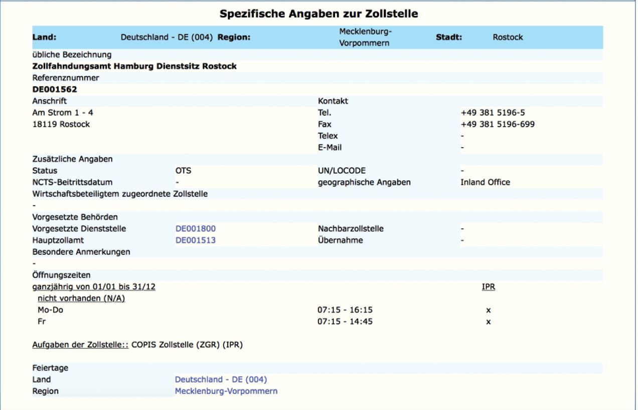 AEO Auskunft - Europäische Kommission Liste der Zollstellen - Zollstelle DE001562